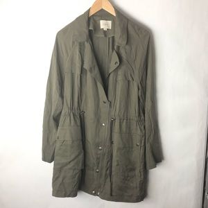 LOFT trench coat utility army green Medium